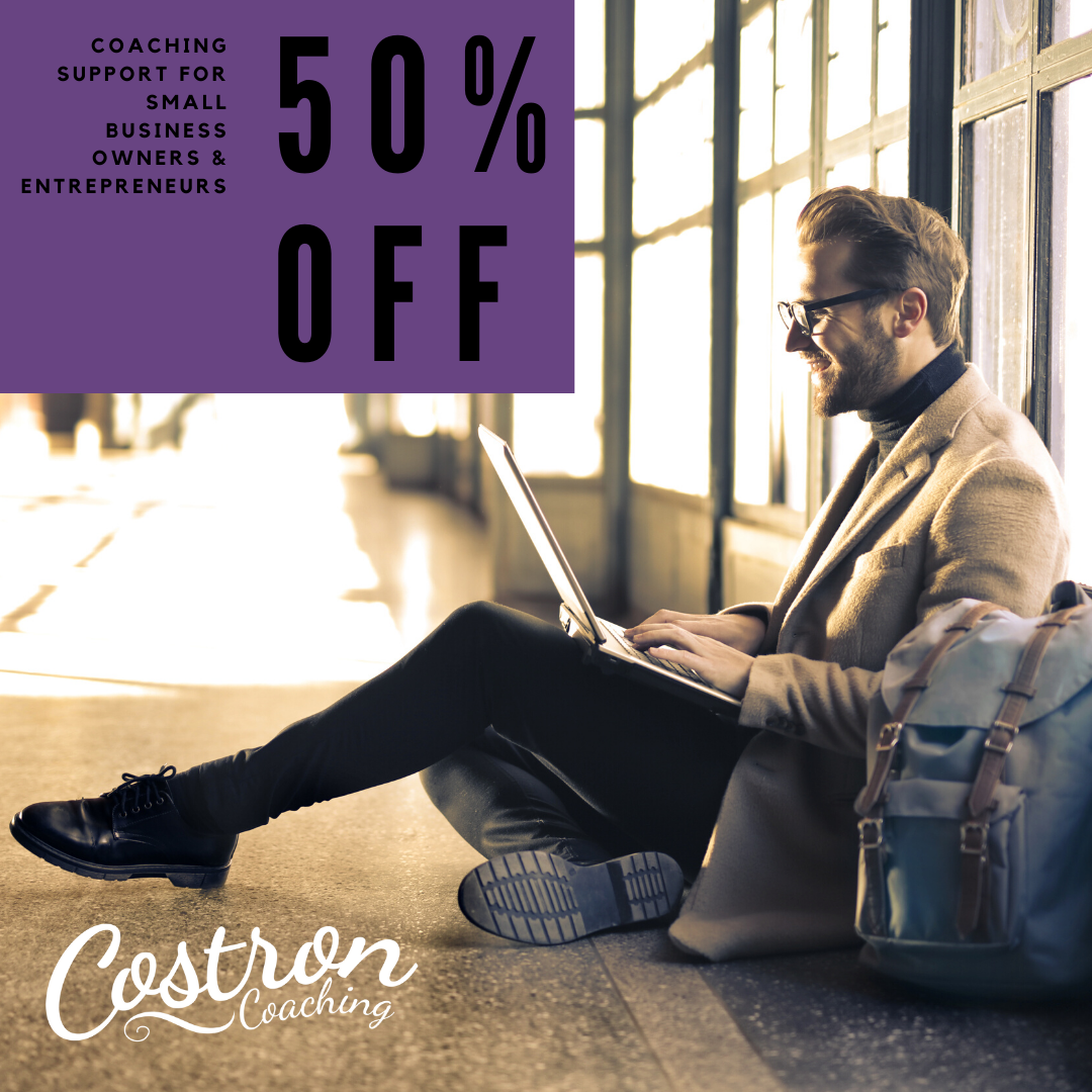 Costron Coaching. 50% Off. Business. Entrepreneur Coach. COVID-19 Support. Online.